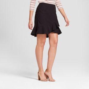 A New Day Asymmetrical Ruffle Skirt - Black